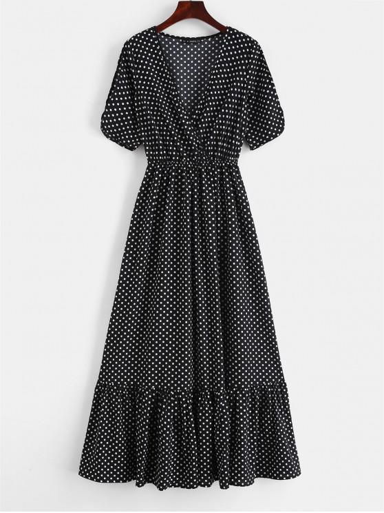 affordable ZAFUL Surplice Polka Dot Cold Shoulder Dress - BLACK S