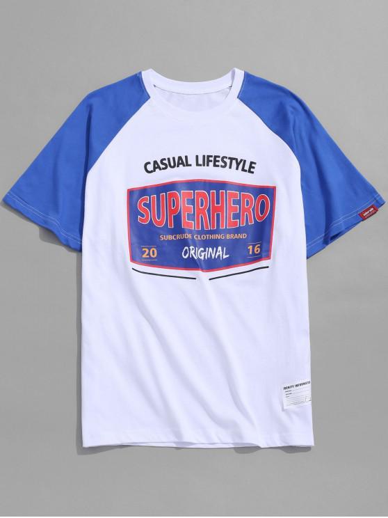 T-shirt con stampa grafica della lettera - Bianca XL