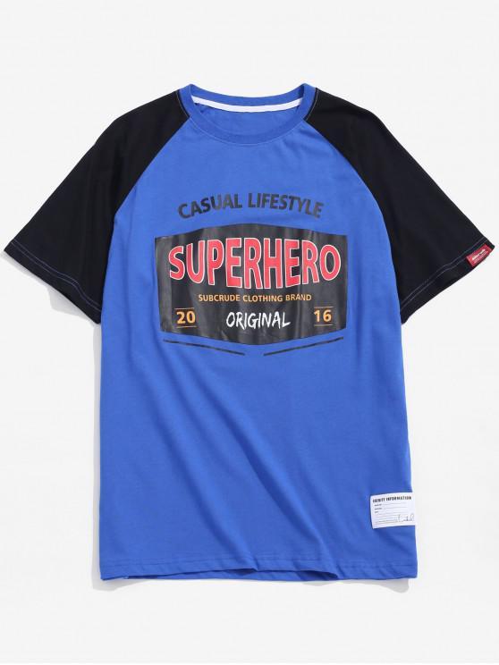 T-shirt con stampa grafica della lettera - Blu 2XL