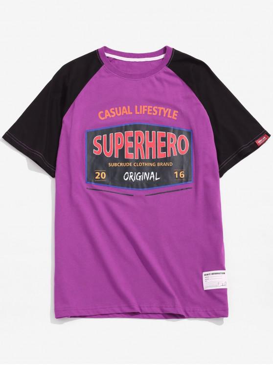 T-shirt con stampa grafica della lettera - viola S