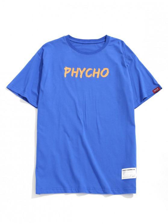 Carta Redonda T-shirt Print Gráfico - Azul 2XL