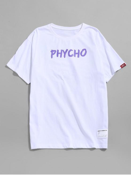 T-shirt Lettre Ronde Graphique Imprimée - Blanc XL