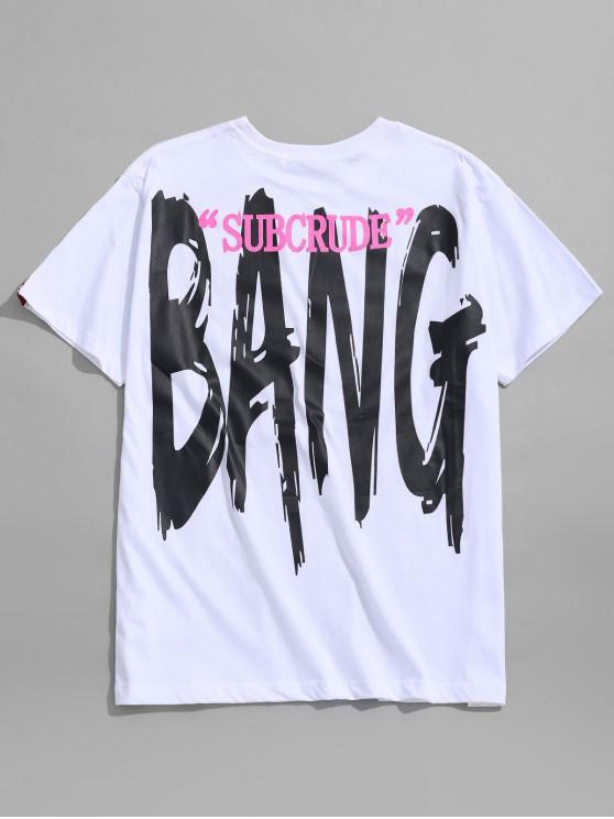 T-shirt morbida con stampa di lettere - Bianca 2XL