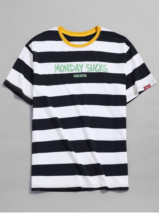 fancy Contrast Striped Letter Print T-shirt - DEEP BLUE S