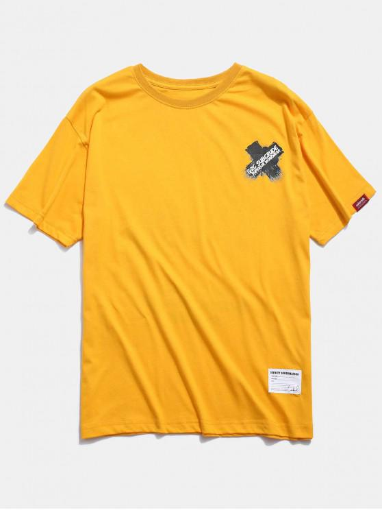 T-shirt con stampa grafica incrociata - Giallo M