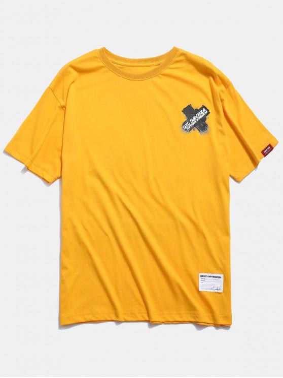 T-shirt con stampa grafica incrociata - Giallo 2XL