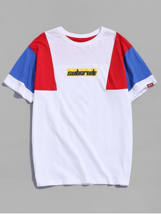 T-shirt Contrasté Graphique - Blanc XL