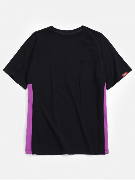 shops Side Letter Ribbon Patchwork T-shirt - BLACK 2XL
