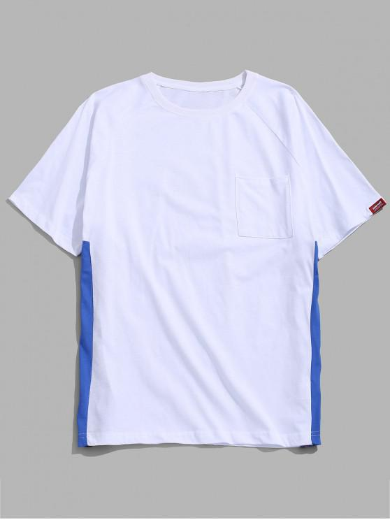 T-shirt patchwork in maglia laterale - Bianca L