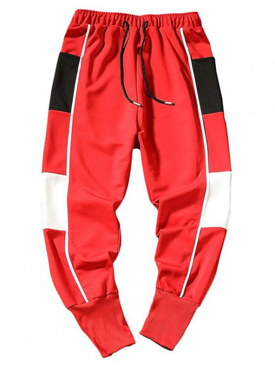 new Side Color Block Letter Harem Pants - RED S