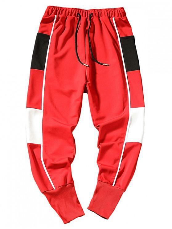 outfit Side Color Block Letter Harem Pants - RED L