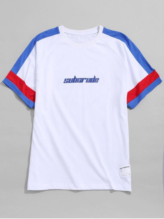 T-shirt con stampa a contrasto a righe - Bianca 2XL