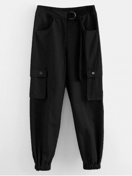 hot Cargo High Waisted Joggers Pants - BLACK L