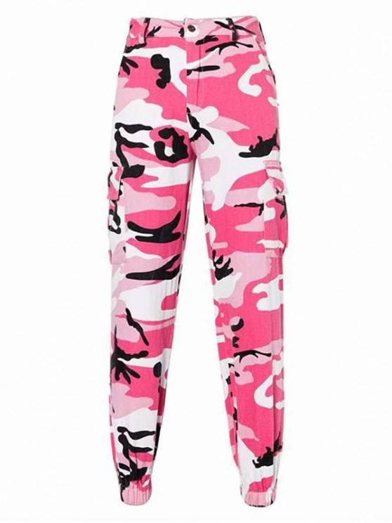 Pantalon Cargo Camouflage Imprimé à Taille Haute avec Poches - Multi-A S