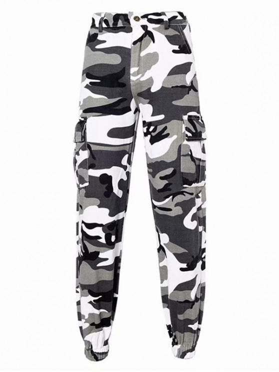 Pantalon Cargo Camouflage Imprimé à Taille Haute avec Poches - Multi-D S