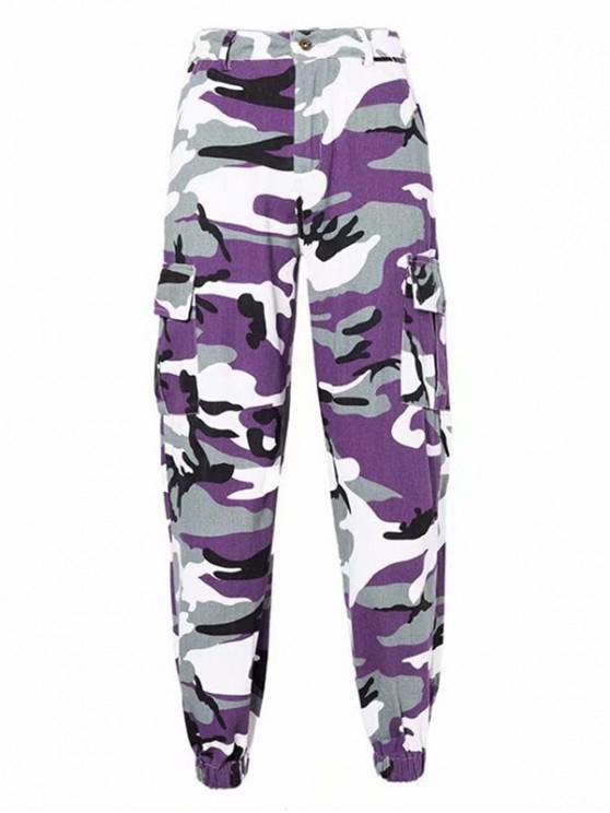 Pantalon Cargo Camouflage Imprimé à Taille Haute avec Poches - Multi-B S