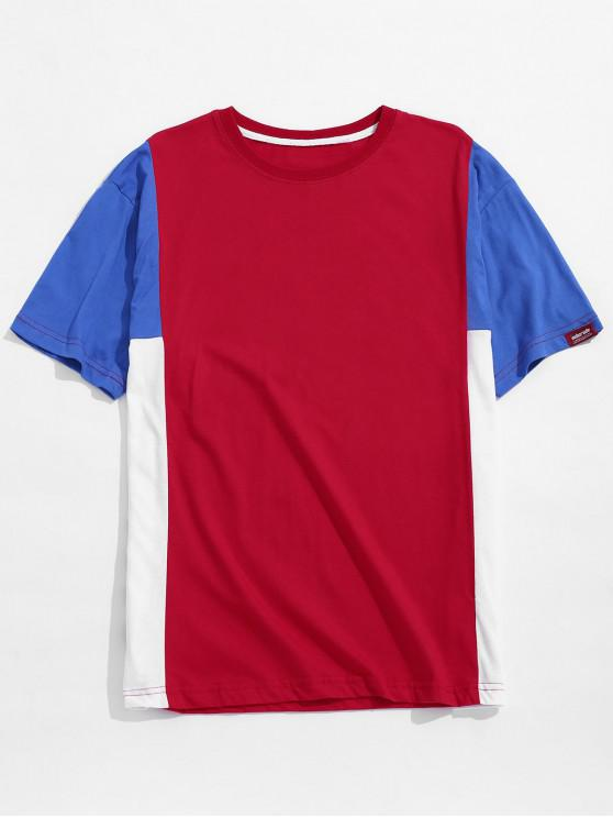 fashion Side Color Block Letter Print T-shirt - RED 2XL
