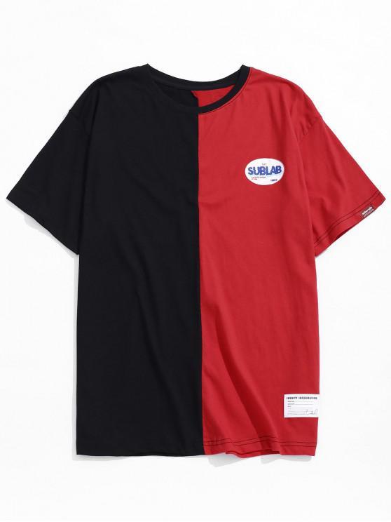 T-shirt Casual Carta de Blocos de Cor - Vermelho 2XL