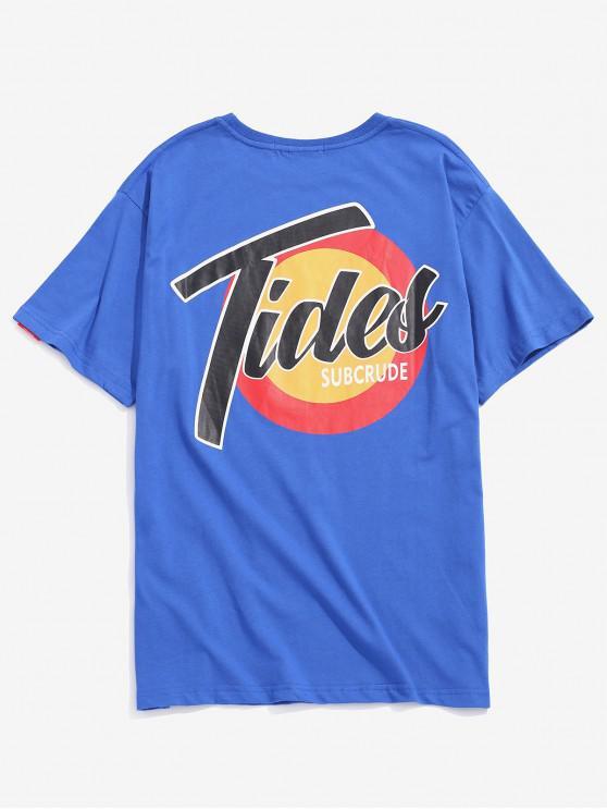 T-shirt a maniche corte con logo - Blu L