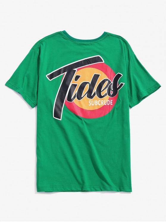 Camiseta de manga corta con logo estampado - Verde 2XL
