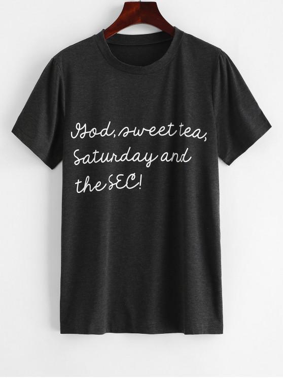 T-shirt long à manches courtes avec lettres imprimées - Gris L
