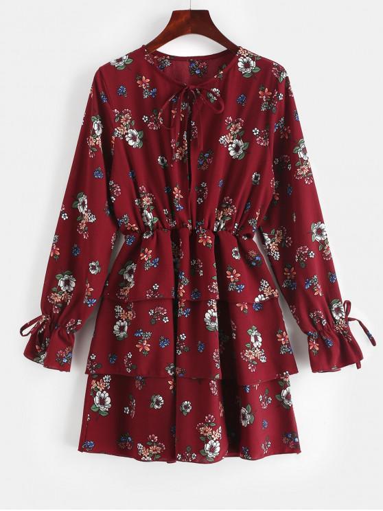 affordable ZAFUL Tied Floral Layered Mini Dress - FIREBRICK M