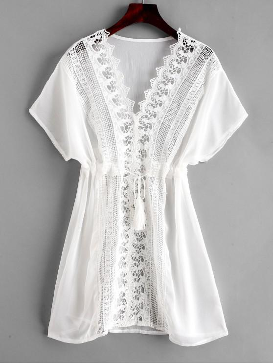 affordable Crochet Plunging Batwing Sleeve Cover Up Dress - MILK WHITE ONE SIZE