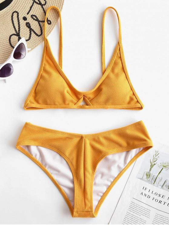 shop ZAFUL Ribbed Keyhole Cami Bikini Set - BEE YELLOW L
