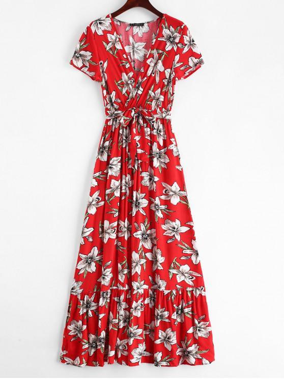 trendy ZAFUL Surplice Floral Low Cut Slit Dress - RED M