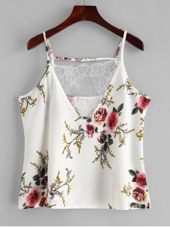 best Lace Panel Floral Print Cami Top - WHITE XL
