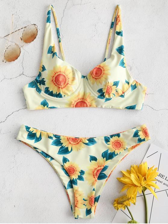 lady ZAFUL Underwire Sunflower Padded Bikini Set - MULTI-A M