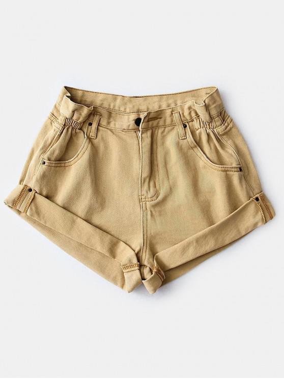 Shorts de mezclilla de cintura alta con puños enrollados - Tan L