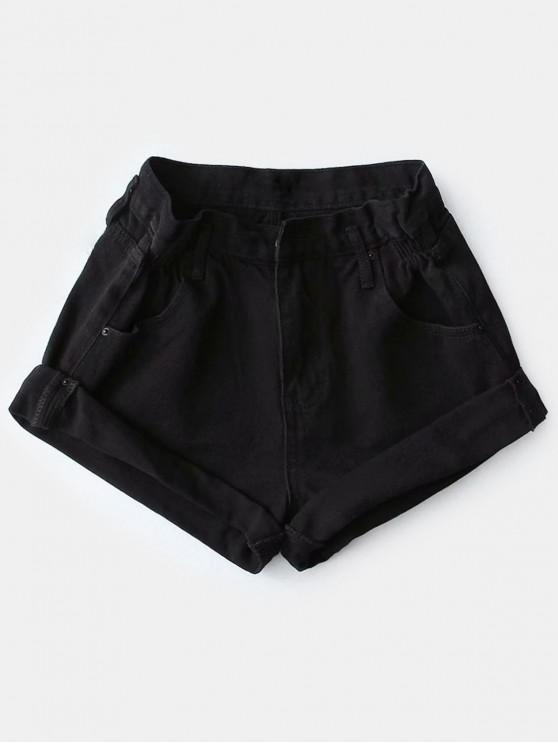 Shorts de mezclilla de cintura alta con puños enrollados - Negro M