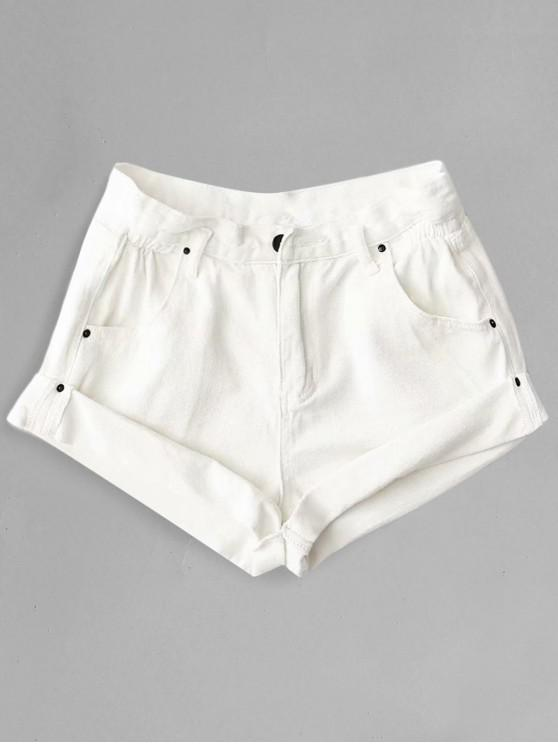 outfit Rolled Cuffs High Waisted Denim Shorts - WHITE S