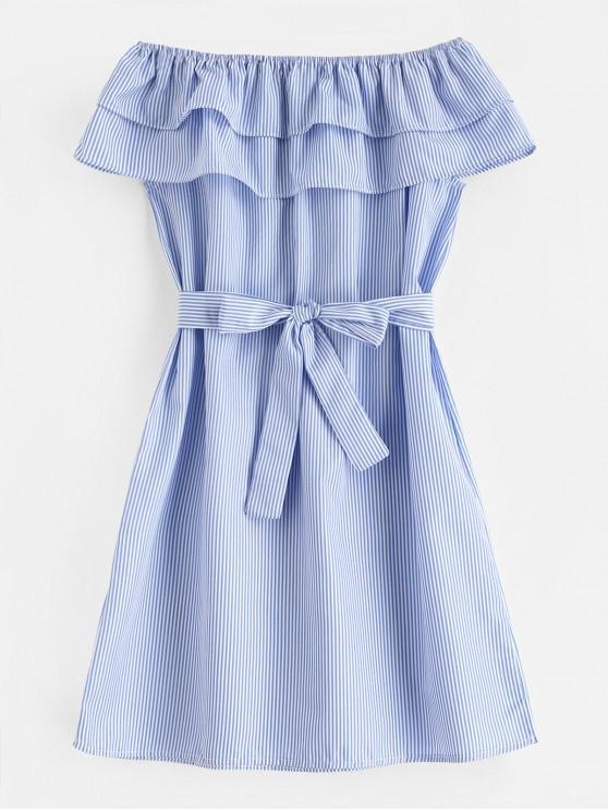 trendy Tiered Flounce Striped Belted Dress - LIGHT SKY BLUE M