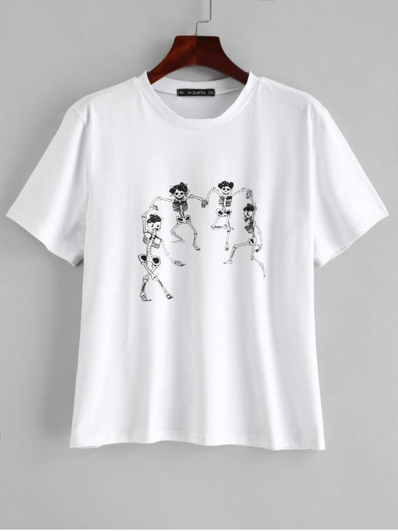trendy ZAFUL Skeleton Graphic Tee - WHITE S