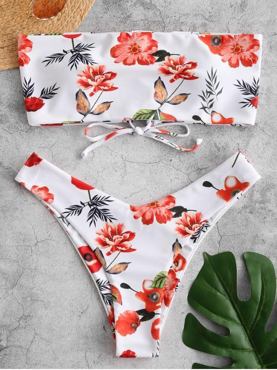 lady ZAFUL Lace Up Flower Bandeau Bikini Set - MULTI-A M