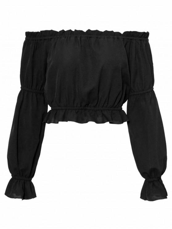 lady Ruffled Off The Shoulder Crop Top - BLACK M