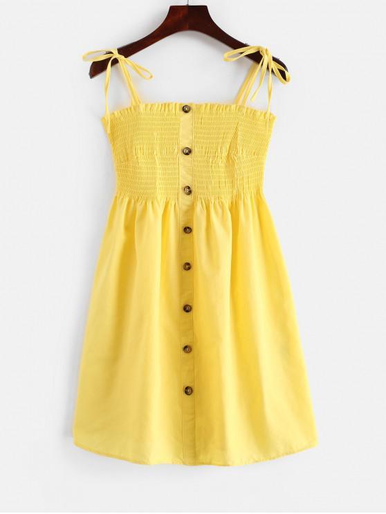 fashion Shirred Buttoned Cami Dress - YELLOW L