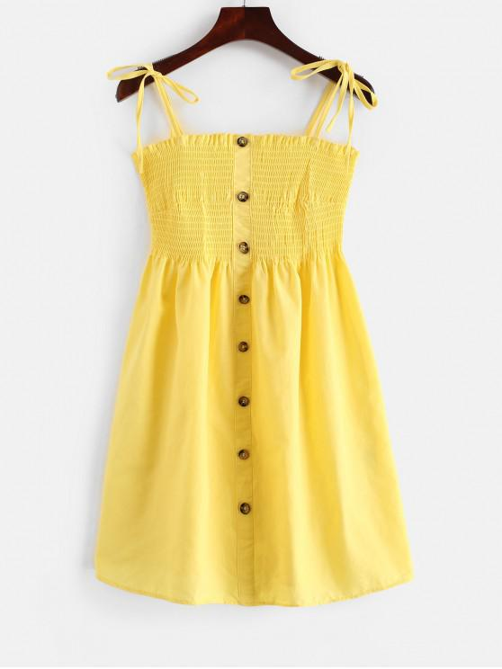 online Shirred Buttoned Cami Dress - YELLOW M