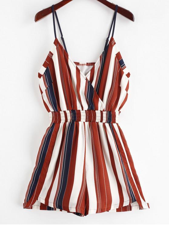 best ZAFUL Cami Smocked Stripes Romper - MULTI L
