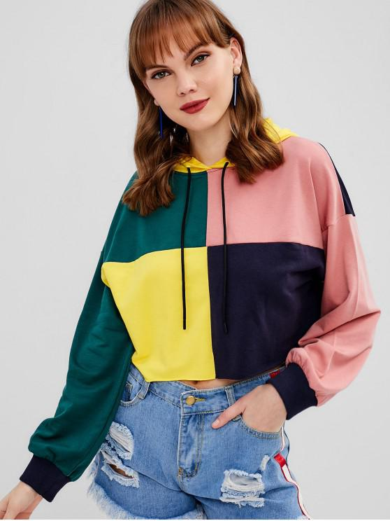 chic Paneled Color Block Pullover Hoodie - MULTI XL