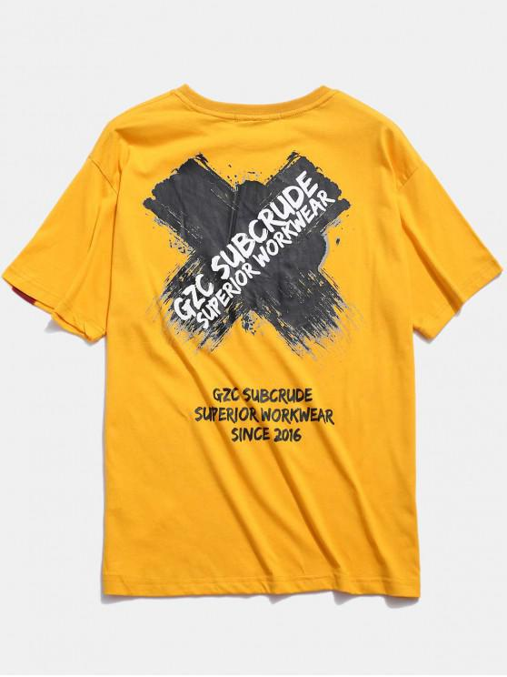affordable Cross Letter Graphic Print T-shirt - YELLOW 2XL