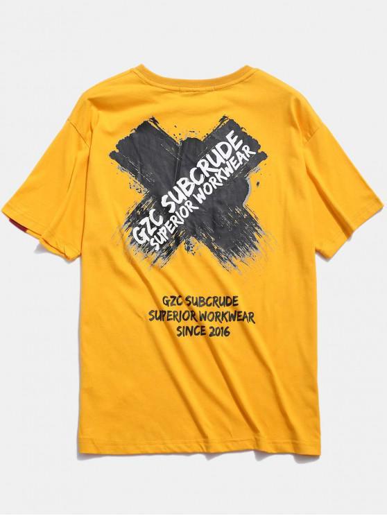 unique Cross Letter Graphic Print T-shirt - YELLOW L
