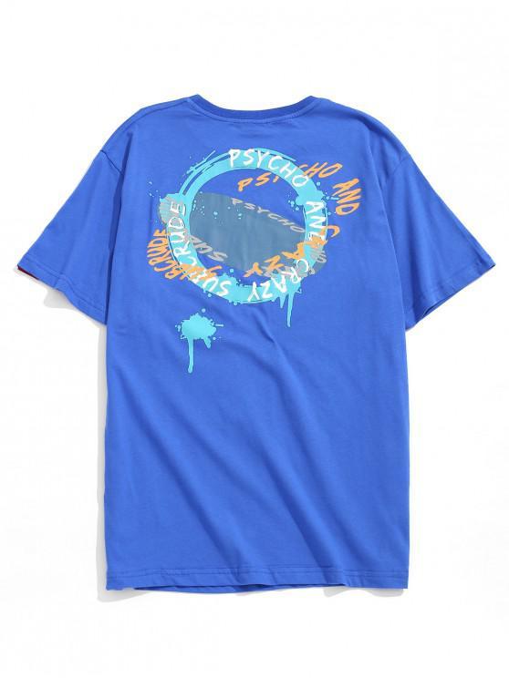 T-shirt Lettre Ronde Graphique Imprimée - Bleu 2XL
