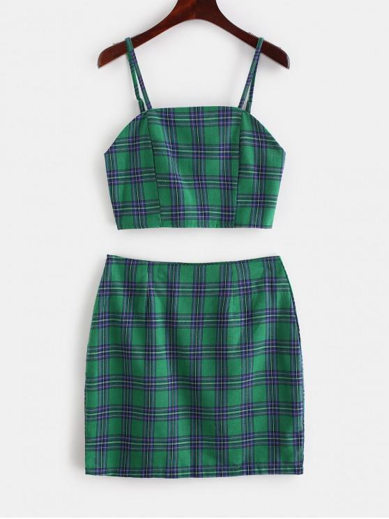 affordable Smocked Back Cami Plaid Skirt Set - DEEP GREEN M