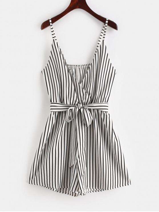 trendy ZAFUL Striped Surplice Cami Romper - WHITE M