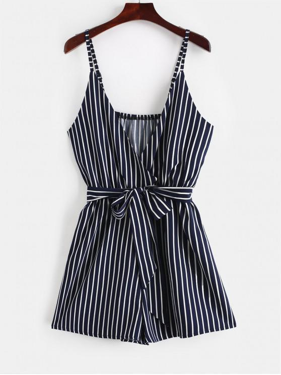 sale ZAFUL Striped Surplice Cami Romper - LAPIS BLUE L