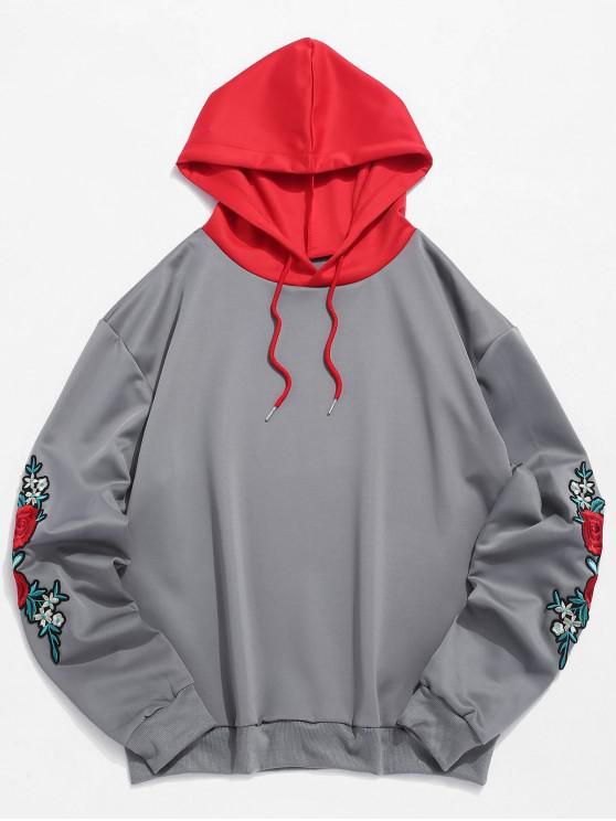 trendy ZAFUL Flower Embroidery Applique Sleeve Drawstring Hoodie - GRAY M