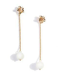 Pearl Chain Floral Stud Earrings - Gold